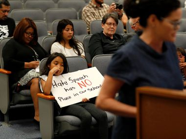 Community members spoke out against the actions of Carter-Riverside High School teacher Georgia Clark during a special meeting on Tuesday, June 4, 2019 in Fort Worth.