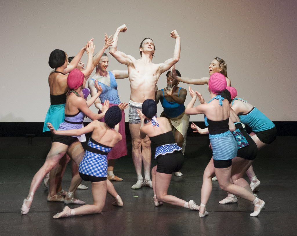 Dallas Neo-Classical Ballet company members surround dancer David Sanders during a dress rehearsal of Le Train Bleu at the Dallas Museum of Art in 2015. Departing artistic director Emilie Skinner often re-staged works originated by the Ballet Russes in the early 20th century.