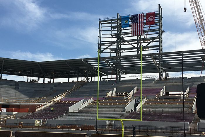 Oklahoma's stadium progress leading up to OU's spring scrimmage on April 9, 2016 in Norman, Okla.