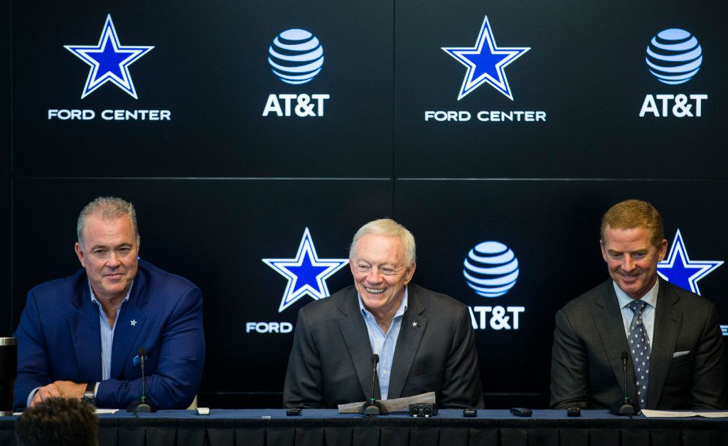 Dallas Cowboys Executive Vice President and CEO Stephen Jones, owner Jerry Jones and head coach Jason Garrett answer questions from reporters after rounds four through seven of the 2017 NFL Draft on Saturday, April 29, 2017 at The Star in Frisco, Texas. (Ashley Landis/The Dallas Morning News)