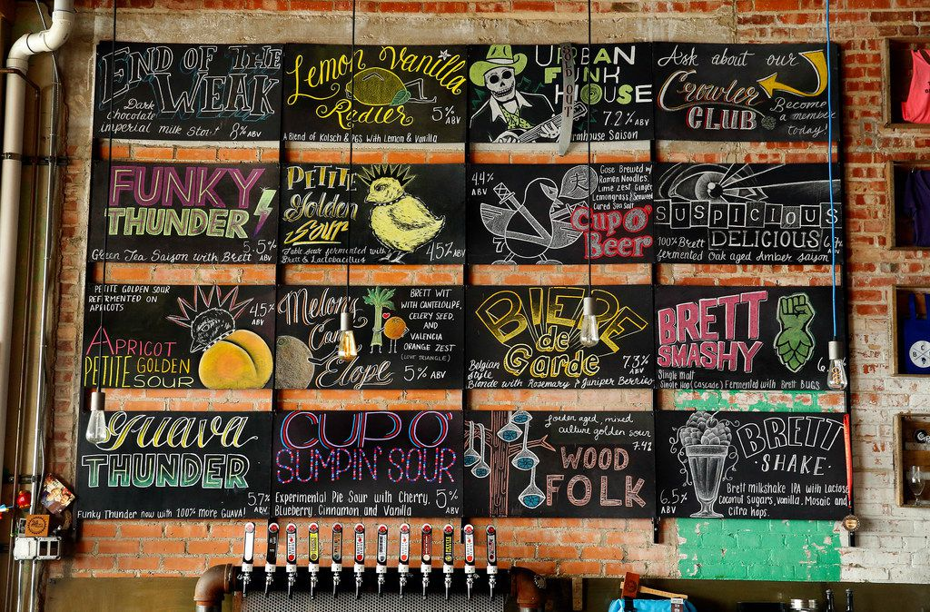 Collective Brewing Project's chalk board menu of beers at their Fort Worth brewery, Sept. 15, 2017.