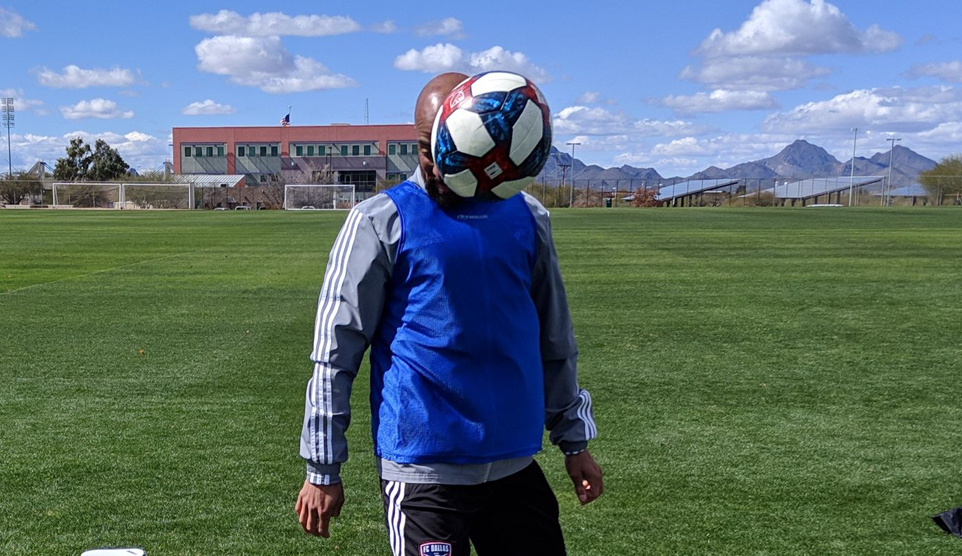 FC Dallas assistant coach Peter Luccin keeps his eye on the ball. (2-19-19)