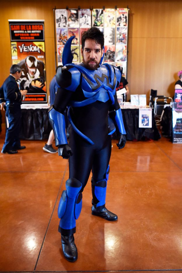 Saul Portillo, 31, originally of the Mexican state of Chihuahua, poses while wearing his Blue Beetle costume during the Texas Latino Comic Con at the Latino Cultural Center in Dallas, Saturday, July 29, 2017. Ben Torres/Special Contributor