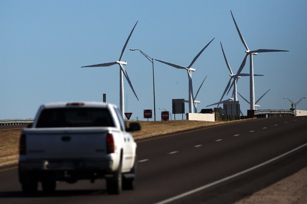 Wind farms, such as this one in Colorado City, are a common sight in West Texas. Amazon announced plans to build a new wind farm in Scurry County, Texas. (Spencer Platt/Getty Images)