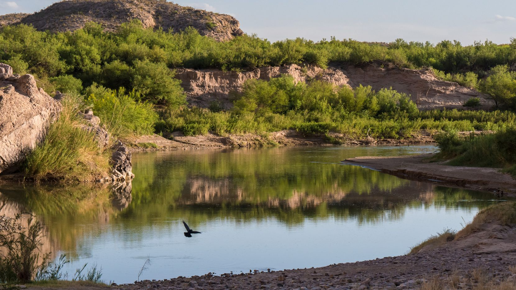 The Rio Grande flows near the entry to Boquillas Canyon in Big Bend National Park.