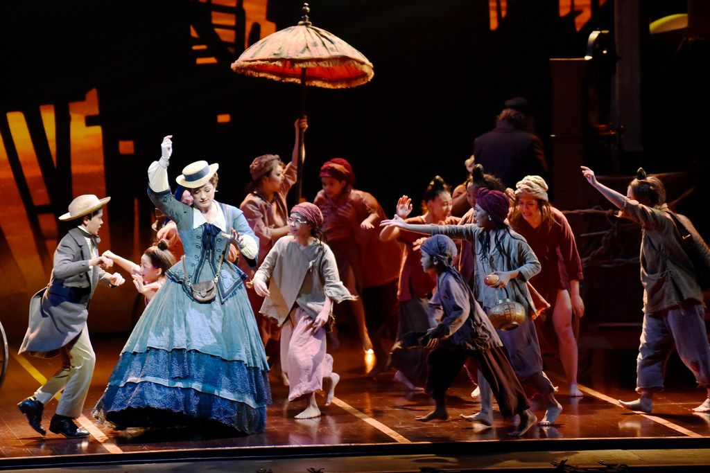 Louis (Rhyees Stump), left, and Anna Leonowens (Laura Michelle Kelly), in the Tony Award-winning Lincoln Center Theater production of Rodgers & Hammerstein's The King and I, directed by Bartlett Sher, part of the AT&T Performing Arts Center Broadway Series, at the Winspear Opera House.