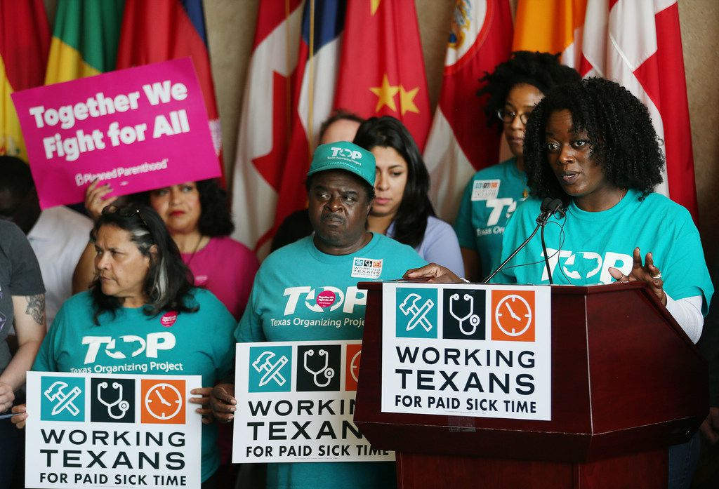 Shetamia Taylor, a member of the Texas Organizing Projects, speaks during a press conference with the Working Texans for Paid Sick Time at Dallas City Hall on April 13, 2018. Working Texans for Paid Sick Time is attempting to get paid sick time policies for Texans. The group filed an intent to circulate a paid sick time petition in the City of Dallas.