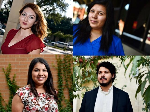 Arriba desde la izq., Delma Gorostieta y Stephanie López. Abajo (desde la izq.), Irazema Rodríguez y Juan Ríos, todos ellos son beneficiarios de DACA y trabajan en empleos que se centran en el servicio a los demás.