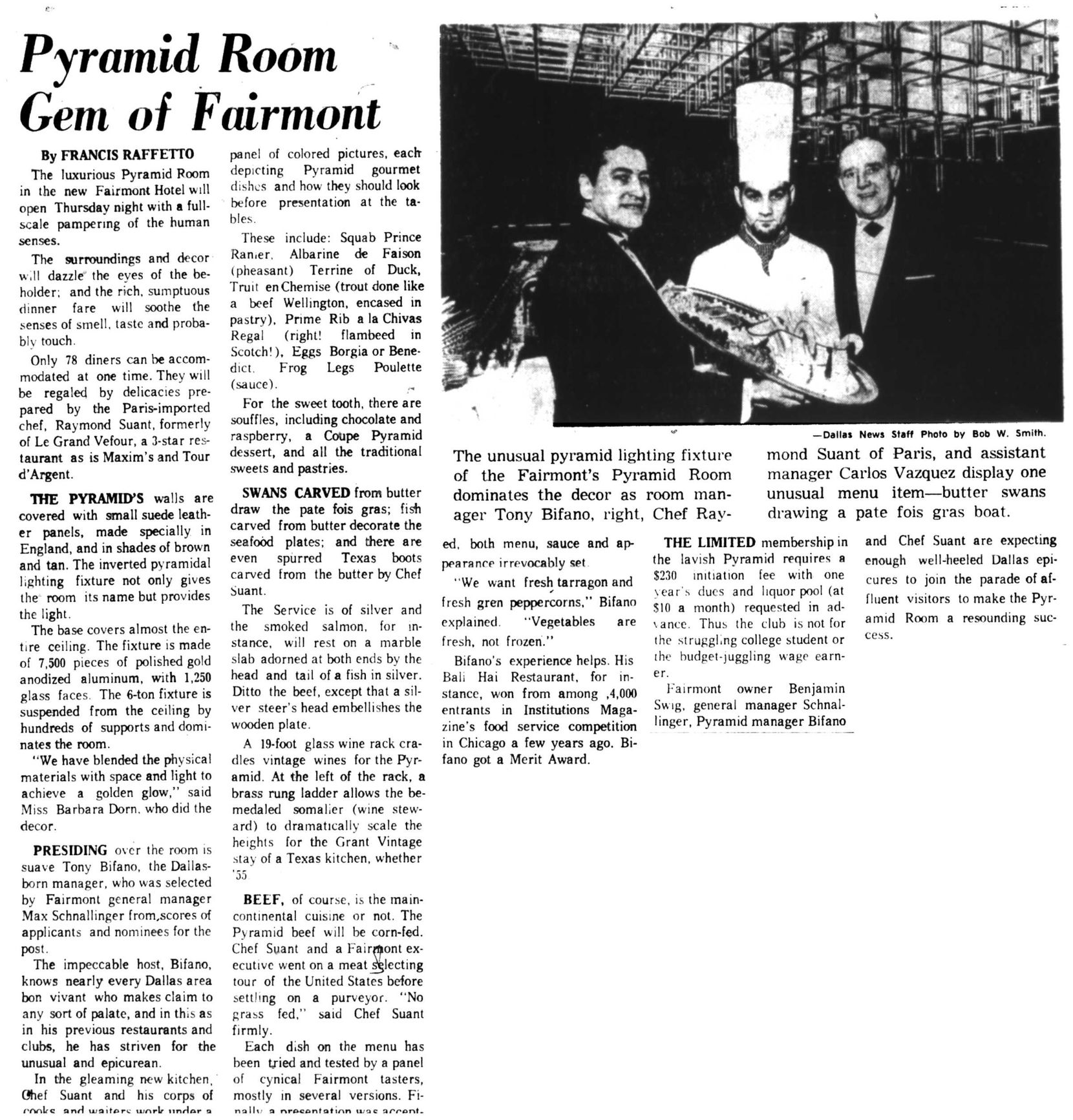 """A 1968 Dallas Morning News feature trumpeted the opening of the Pyramid Room in the Fairmont Hotel, anticipating a parade of """"well-heeled Dallas epicures."""""""