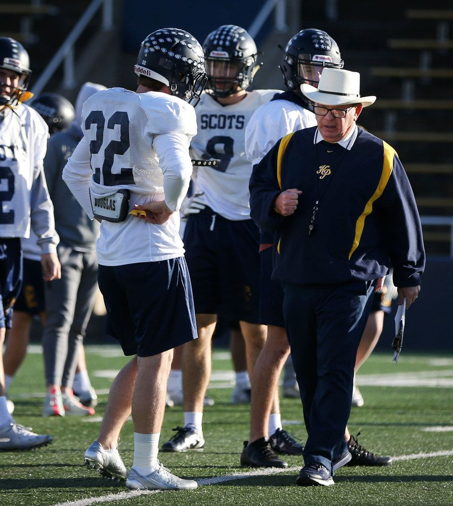 Highland Park head coach Randy Allen leads practice at Highland Park High School in Dallas on Monday, Dec. 3, 2018. (Rose Baca/The Dallas Morning News)