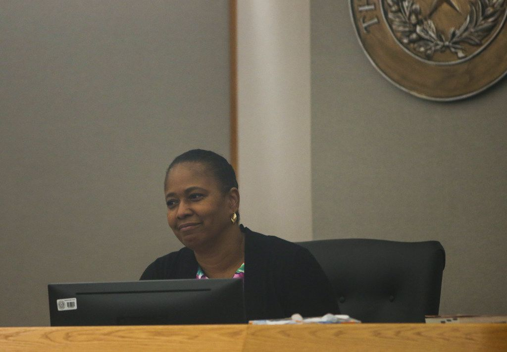 Judge Tammy Kemp presided over the 204th Judicial District Court as former Dallas police Officer Amber Guyger (not pictured) made a court appearance at the Frank Crowley Courts Building in Dallas on June 6. Guyger is charged with murder in the Sept. 6 shooting death of Botham Jean in his own apartment. Guyger's attorneys filed a motion Monday asking Kemp to move the trial out of Dallas.