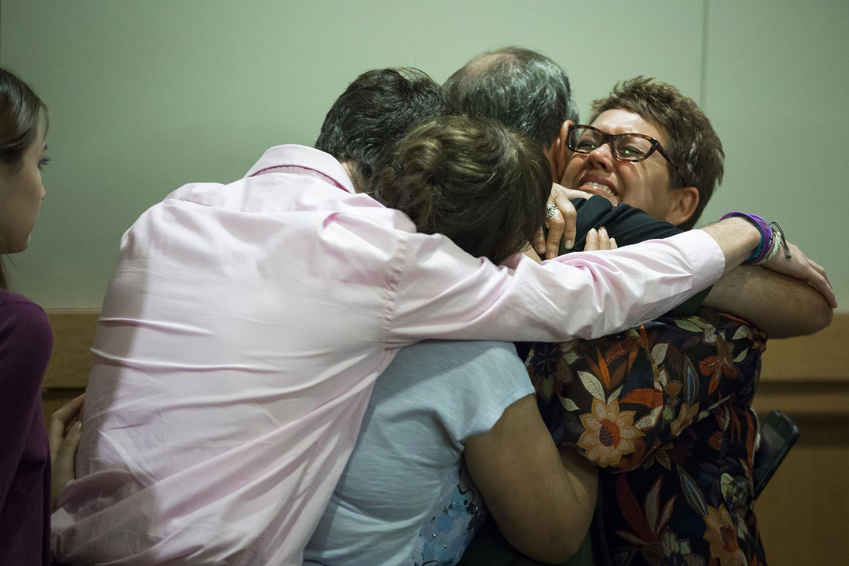Christina Morris' mother, Jonni McElroy, hugged family members after Wednesday's guilty verdict.