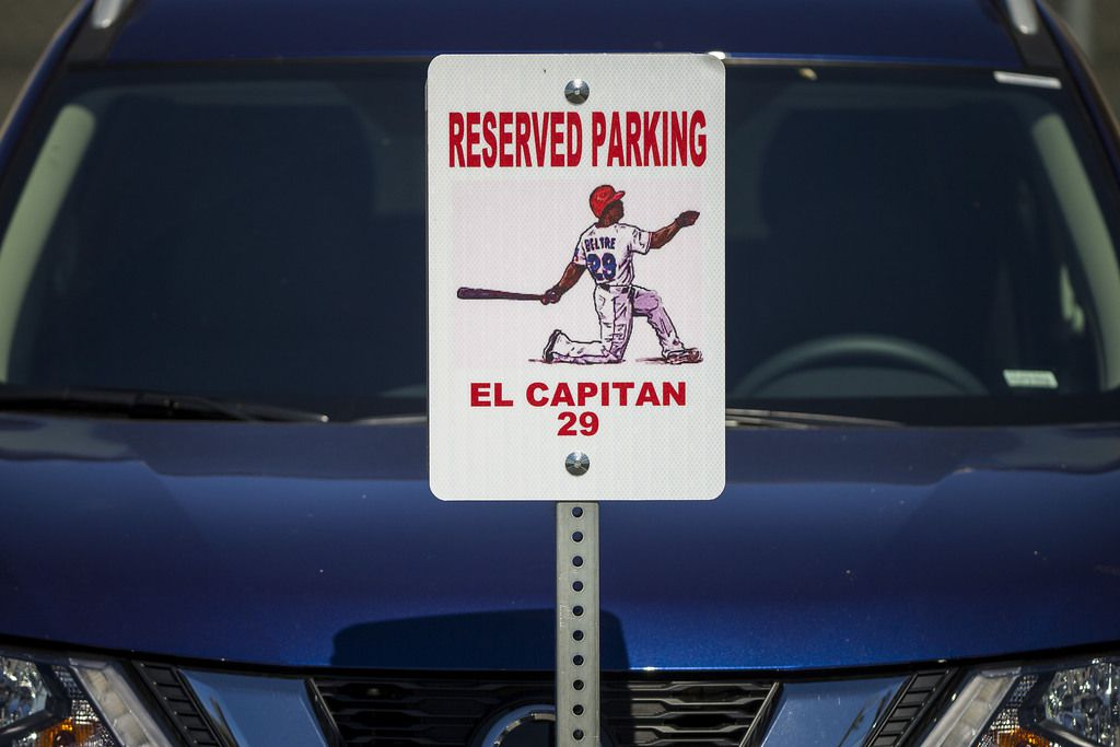 A new sign marks a parking space in the players lot for Texas Rangers third baseman Adrian Beltre before a spring training baseball game against the San Francisco Giants on Monday, March 5, 2018, in Surprise, Ariz. (Smiley N. Pool/The Dallas Morning News)