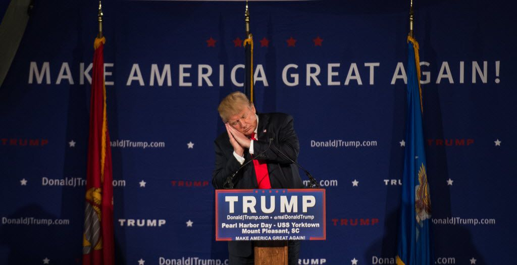 Donald Trump mocked Jeb Bush at a Pearl Harbor Day Rally at the U.S.S. Yorktown on Dec. 7, 2015, in Mount Pleasant, S.C. No surprise Bush isn't interested in appearing at Trump's coronation this week in Cleveland.