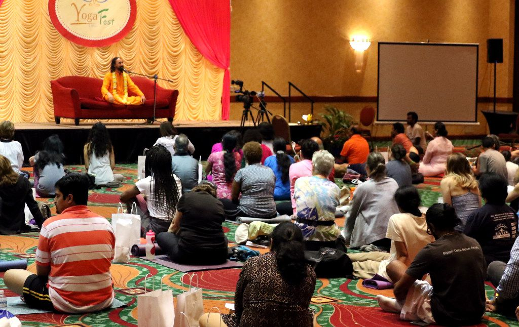 Keynote speaker Swami Mukundananda speaks during the Dallas Yoga Fest on June 17, 2017 at the Renaissance Hotel in Richardson, Texas. (Tailyr Irvine/The Dallas Morning News)