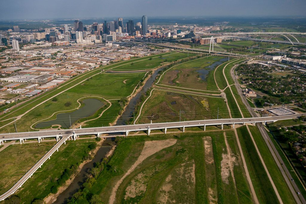 Aerial view of the downtown skyline, Trinity River and Margaret Hunt Hill Bridge on Thursday, April 4, 2019, in Dallas. (Smiley N. Pool/The Dallas Morning News)