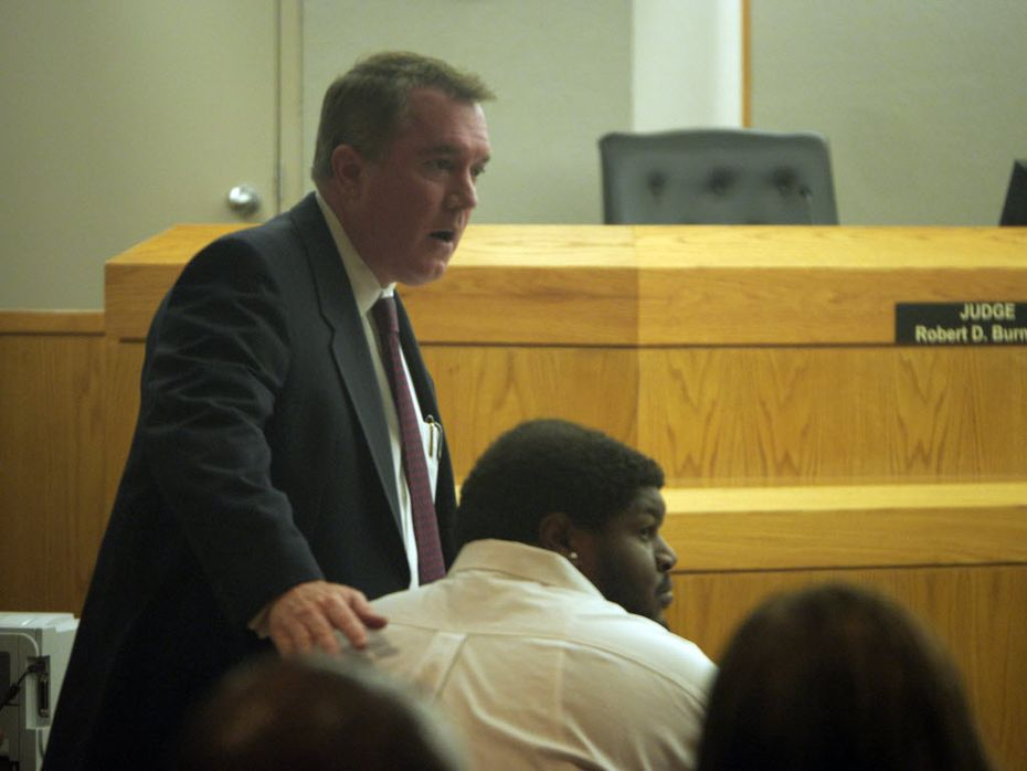 "Defense attorney George Milner III, with former Dallas Cowboy Josh Brent in court, credits Hawk with turning the DA's office ""completely around from the disaster that was the administration before her."" (File Photo/Ron Baselice)"