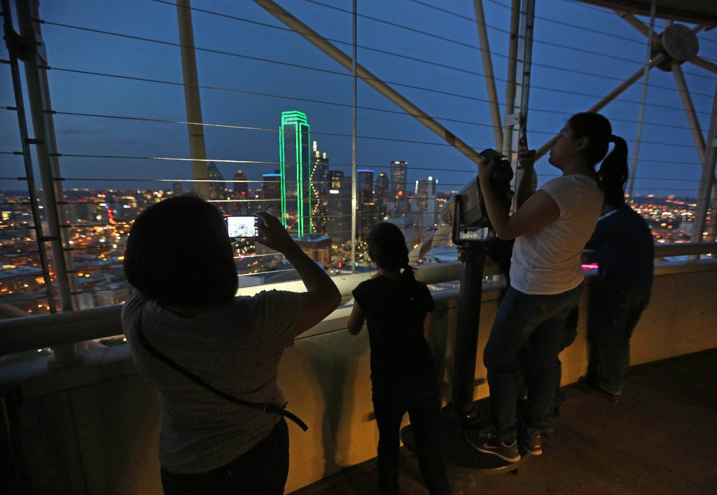 A look at downtown Dallas from the Geo Deck at Reunion Tower in Dallas.