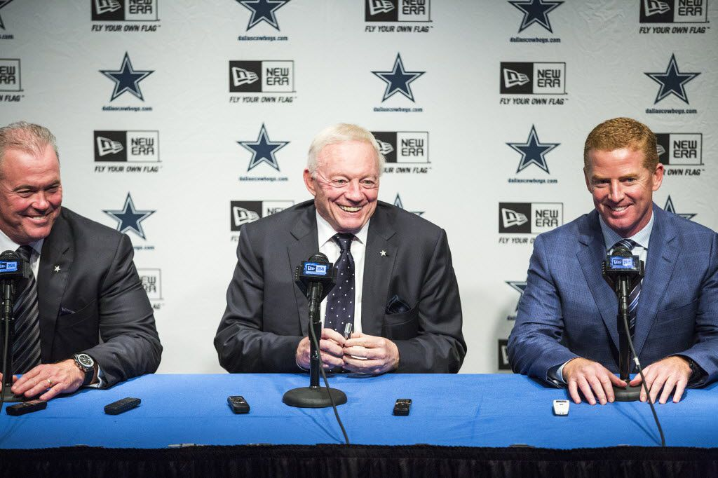 Dallas Cowboys executive vice president/COO Stephen Jones, owner Jerry Jones, and head coach Jason Garrett discuss their picks in the second and third rounds of the 2015 NFL Draft at their Valley Ranch training facility  on Friday, May 1, 2015, in Irving. (Smiley N. Pool/The Dallas Morning News)