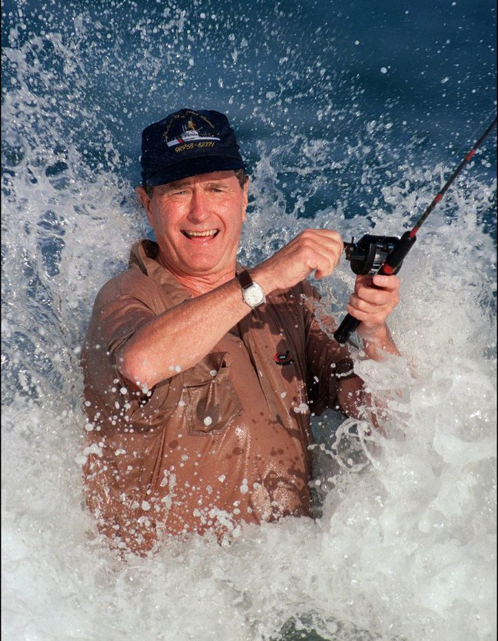George Bush was smashed by a wave while fishing in Florida in 1988. Bush, an avid sportsman and fisherman, will be inducted posthumously into the Fishing Hall of Fame in September.