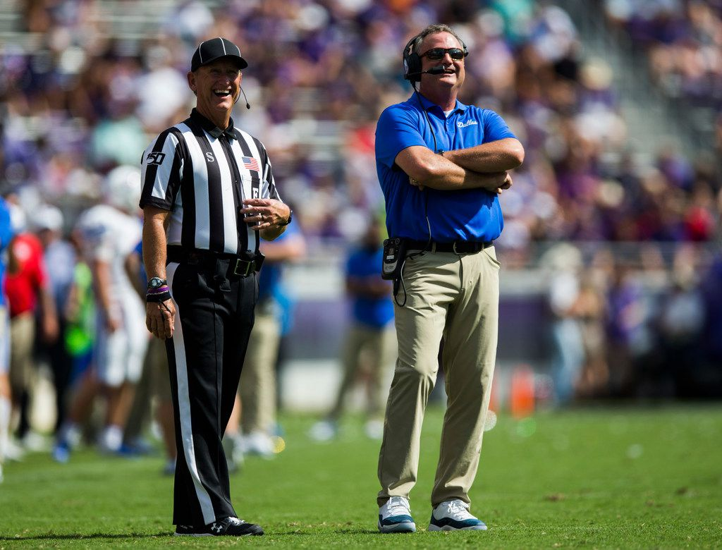 Southern Methodist Mustangs head coach Sonny Dykes reviews a play during the first quarter of a college football game between SMU and TCU on Saturday, September 21, 2019 at Amon G. Carter Stadium in Fort Worth.