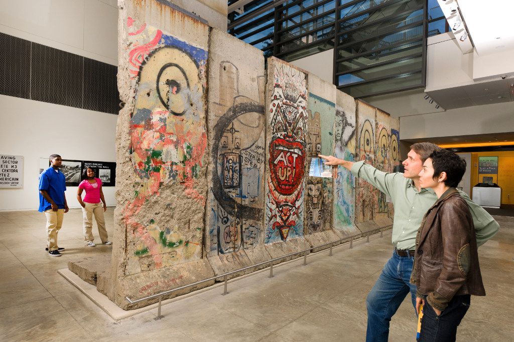 A chunk of the Berlin Wall is on display at the Newseum in Washington.