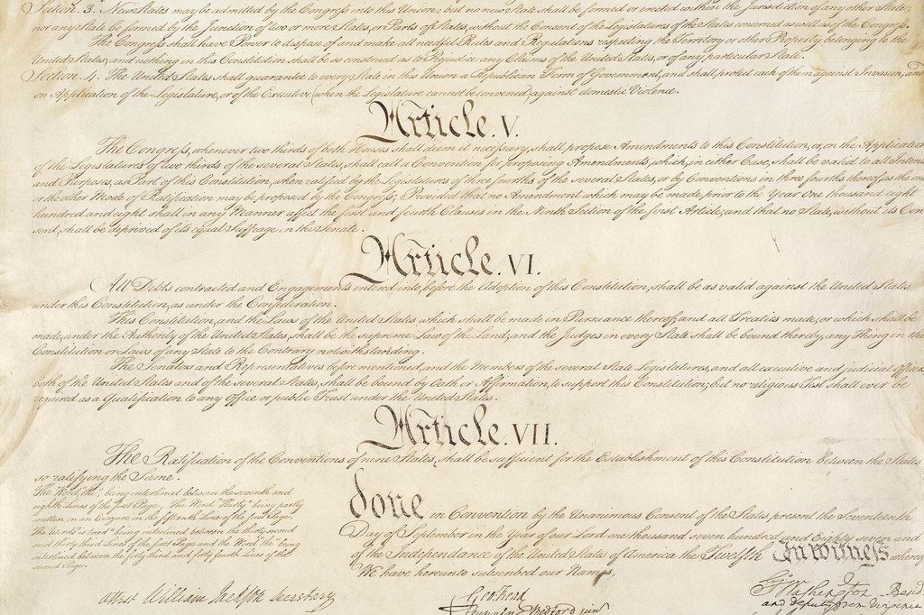 A portion of the United States Constitution with Articles V-VII.