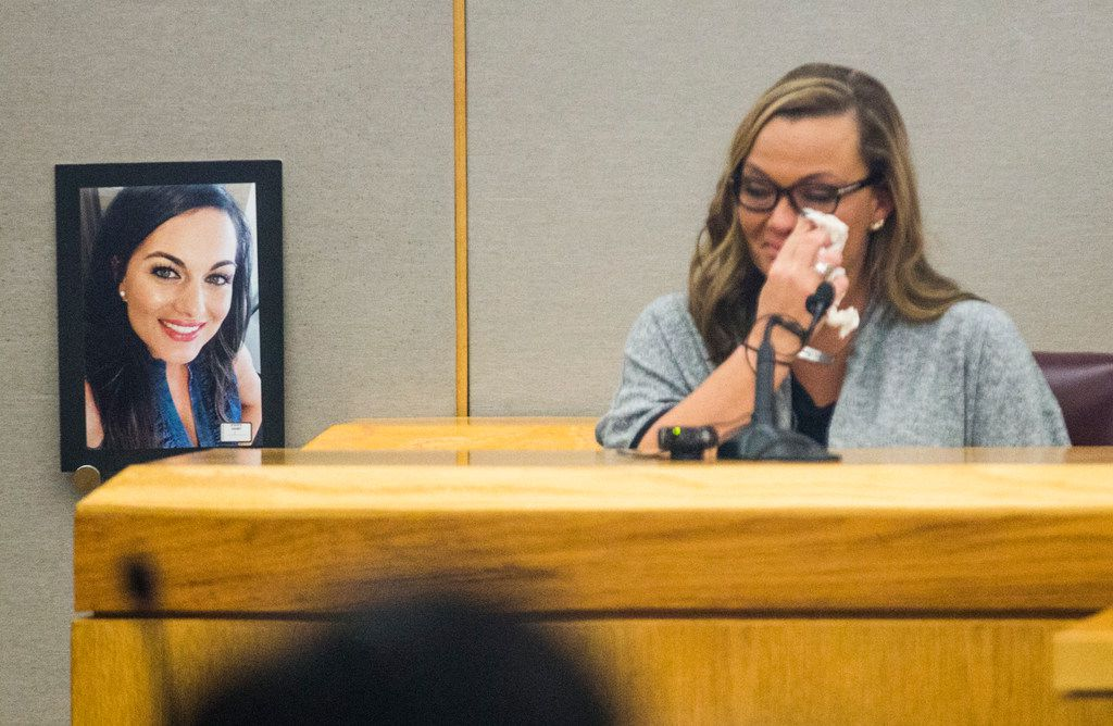 Ashley Turner, sister of Kendra Hatcher, testified during the punishment phase of a capital murder trial for Kristopher Love on Monday, Oct. 29, 2018 at the Frank Crowley Courts Building in Dallas. Love was convicted in the 2015 murder of pediatric dentist Kendra Hatcher, pictured at left. He could face the death penalty.