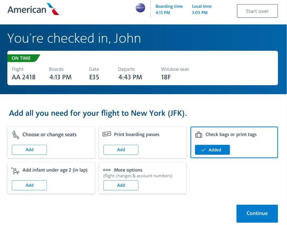 A screenshot of the check-in kiosk for American Airlines