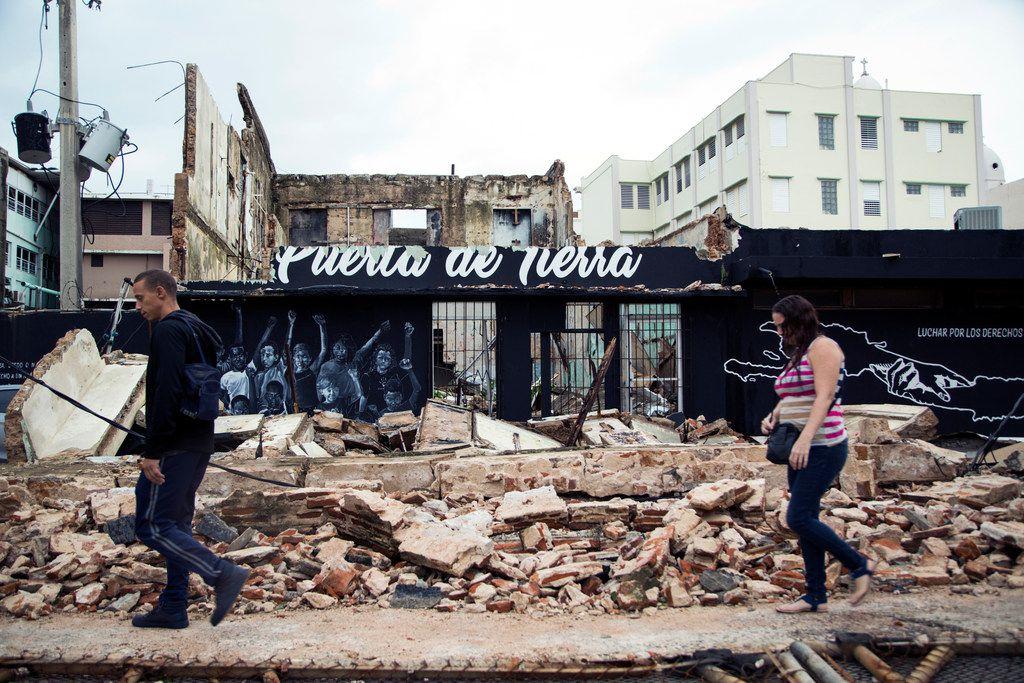 FILE -- Devastation in San Juan, Puerto Rico, after Hurricane Maria on Sept. 21, 2017.