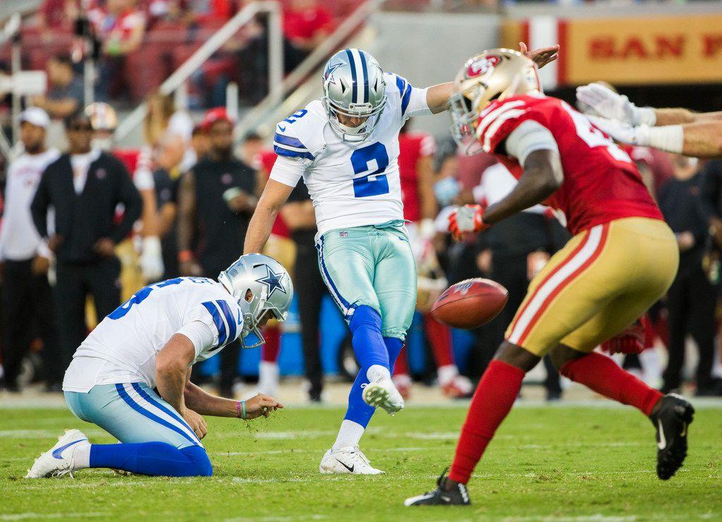 Dallas Cowboys kicker Brett Maher (2) kicks a field goal during the second quarter of an NFL preseason game between the Dallas Cowboys and the San Francisco 49ers on Saturday, August 10, 2019 at Levi's Stadium in Santa Clara, California. (Ashley Landis/The Dallas Morning News)