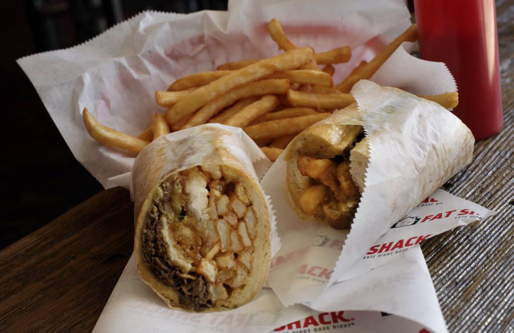 This monstrosity is how Fat Shack got its name. The large-sized Fat Shack sandwich can weigh between 1 and 2 pounds and comes with a layer of cheesesteak, two chicken fingers, a jalapeno popper, a mozzarella stick, a dozen french fries and two onion rings. Your dignity might be lodged somewhere in there, too.