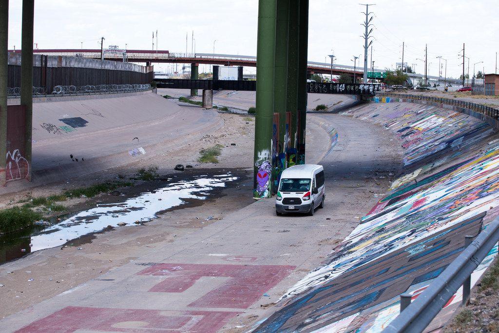 An Instituto Nacional de Migracion vehicle patrols the banks of the Rio Grande in Ciudad Juarez, Chihuahua, Mexico, across the border from El Paso on Thursday, Aug. 1, 2019.