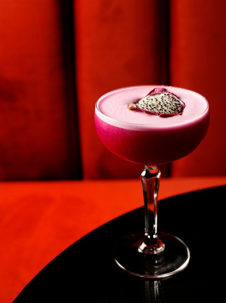 Here's one of Akai's cocktails: the Watasumi, with gin, St. George Spiced Pear Liqueur, lemon juice, prickly pear juice and egg white
