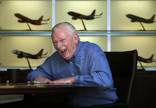 Herb Kelleher in 2008 laughs as he recalls many of the good times he has had at Southwest Airlines.