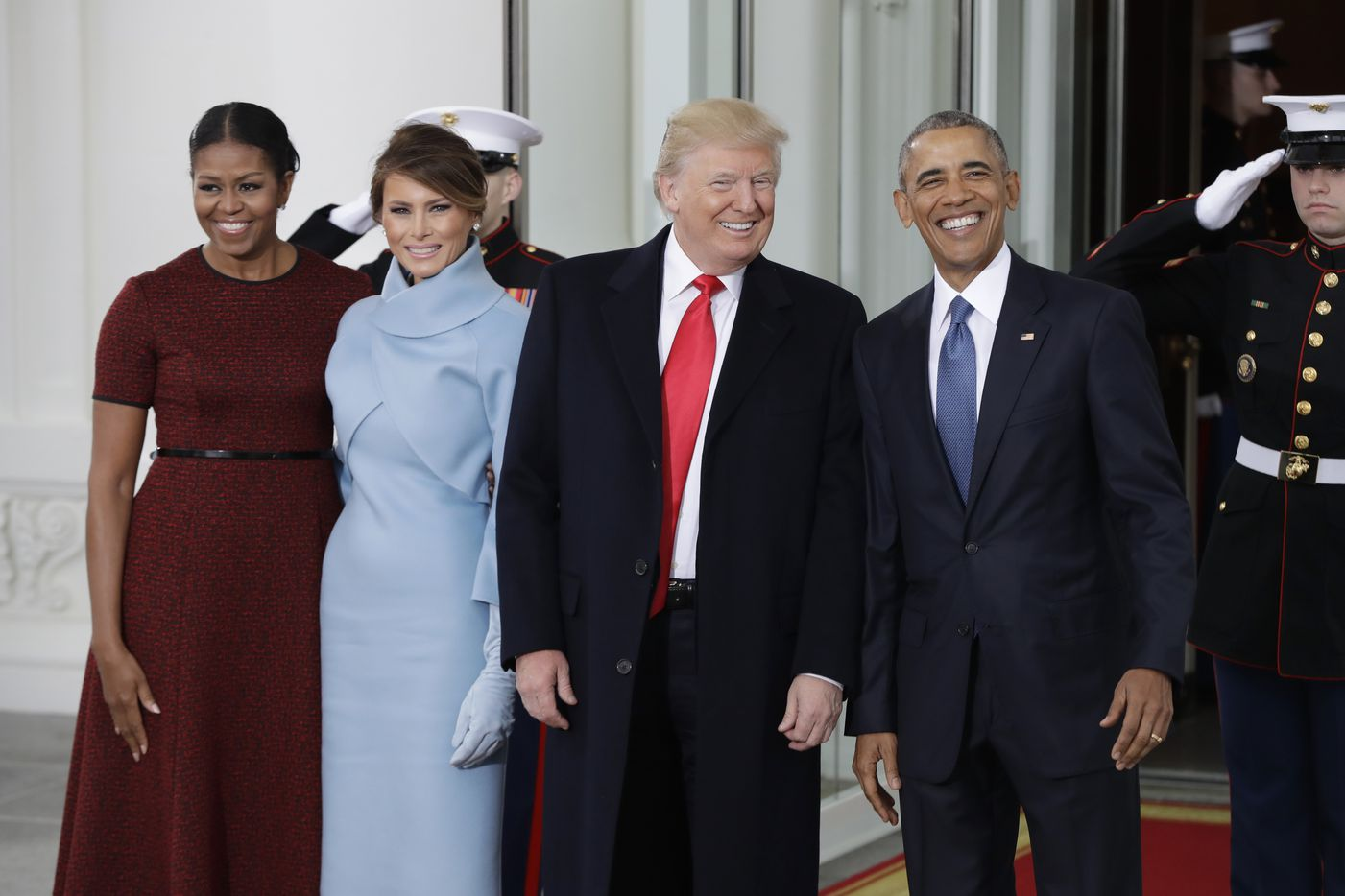 President Barack Obama stands with President-elect Donald Trump, first lady Michelle Obama and Melania Trump at the White House in Washington, Friday, Jan. 20, 2017