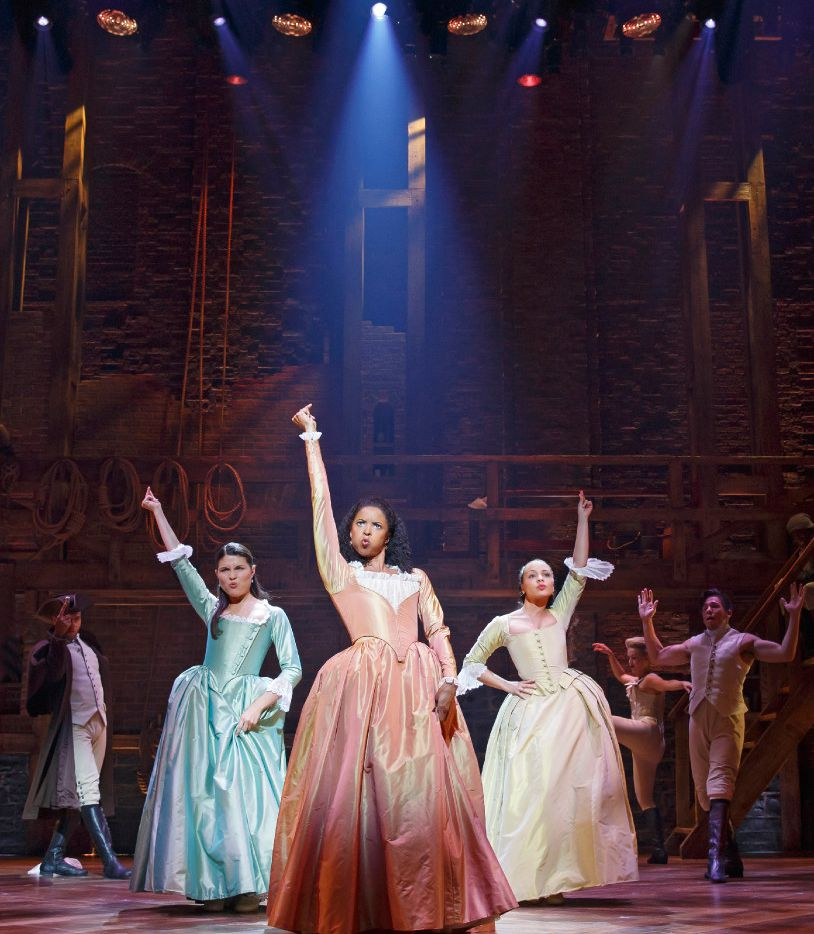 From left: Phillipa Soo, Renee Elise Goldsberry and Jasmine Cephas Jones in Hamilton  at the Richard Rodgers Theatre on Broadway.