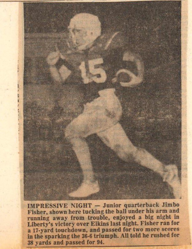 Jimbo Fisher featured in a newspaper has a high school quarterback.