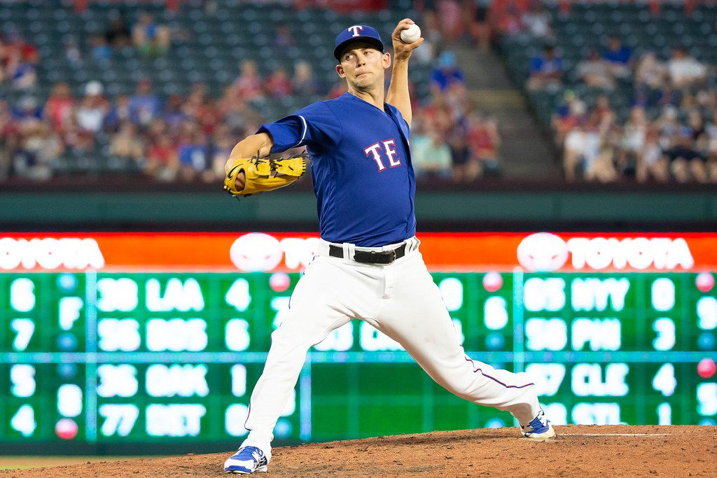 Texas Rangers starting pitcher Mike Minor pitches during the seventh inning against the San Diego Padres at Globe Life Park on Wednesday, June 27, 2018, in Arlington. (Smiley N. Pool/The Dallas Morning News)
