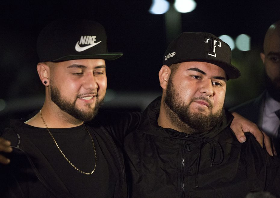Gabriel Gonzales (left) hugged his brother Brandon after his release from the Hunt County Jail on Nov. 5.