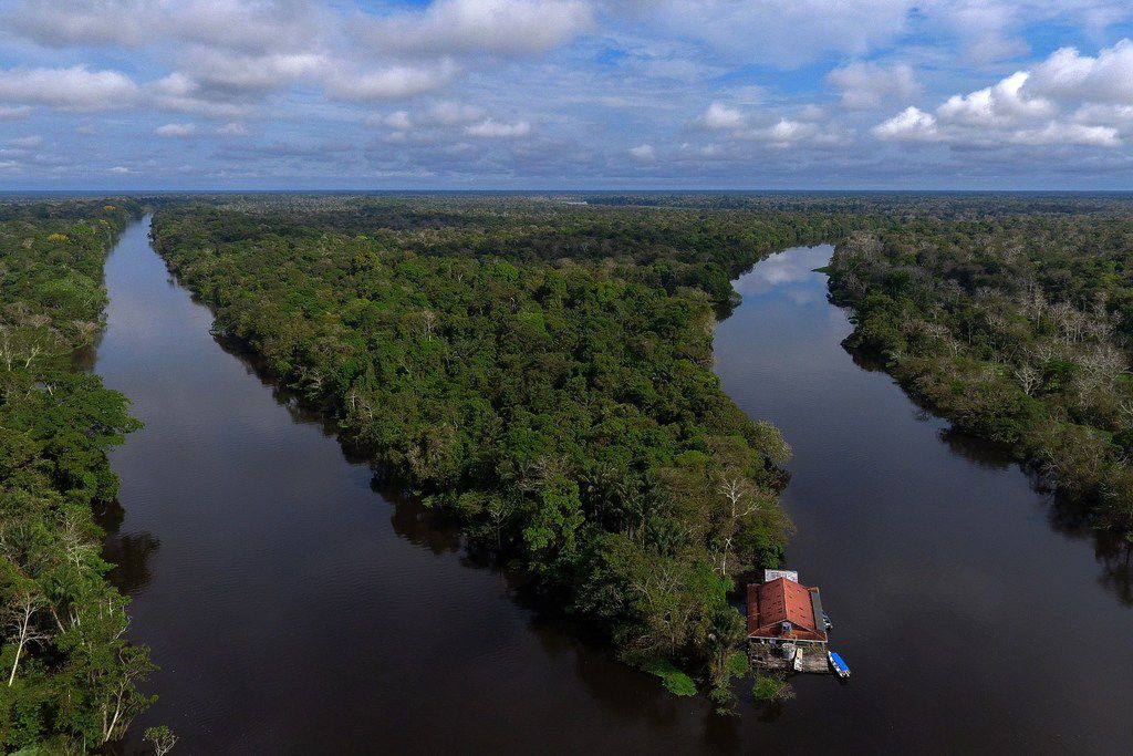 A drone view of a split in the river Amazon is named after in Brazil.