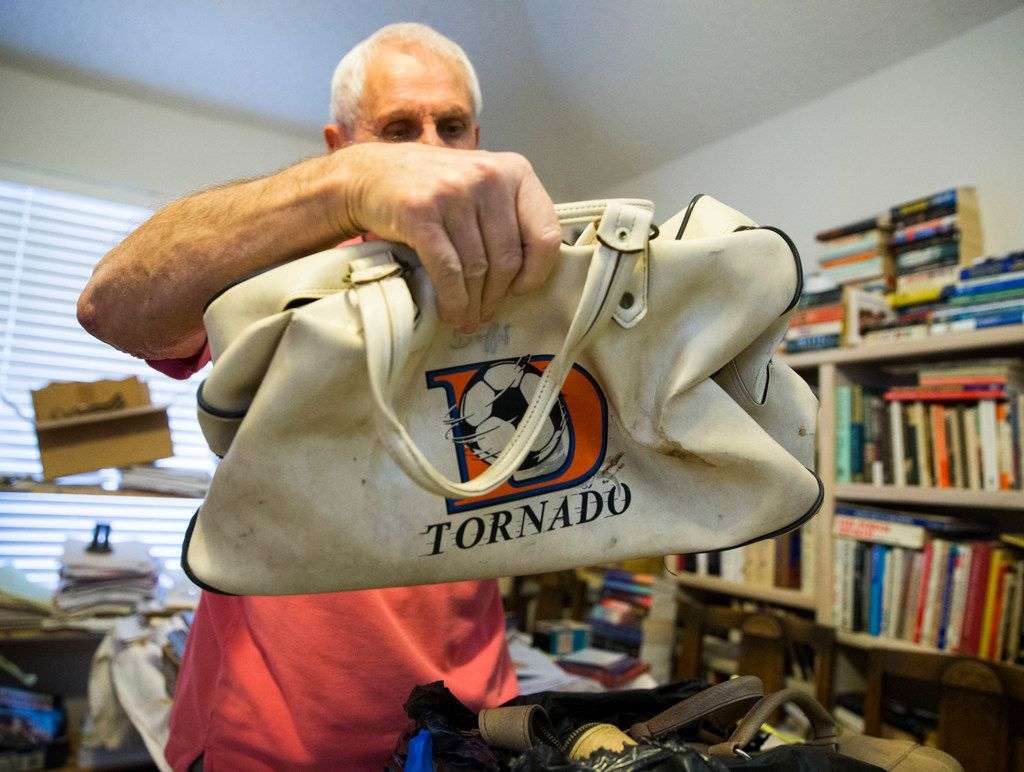 Bobby Moffat kept everything from his playing days, including this equipment bag. I think I had a replica when I was, like, 9.