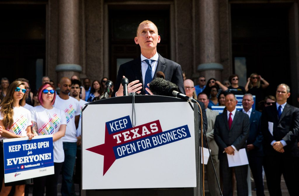 Phillip Jones, of VisitDallas and Texas Welcomes All, and other Texas business leaders hold a press conference opposing the bathroom bill on July 17, 2017 at the Texas state capitol in Austin.