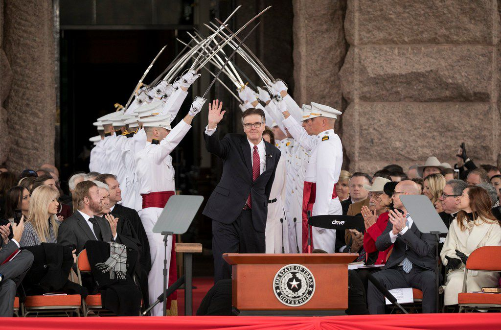 Lt. Gov. Dan Patrick arrives at the oath of office ceremony on Inauguration Day at the Capitol on Jan. 15, 2019.