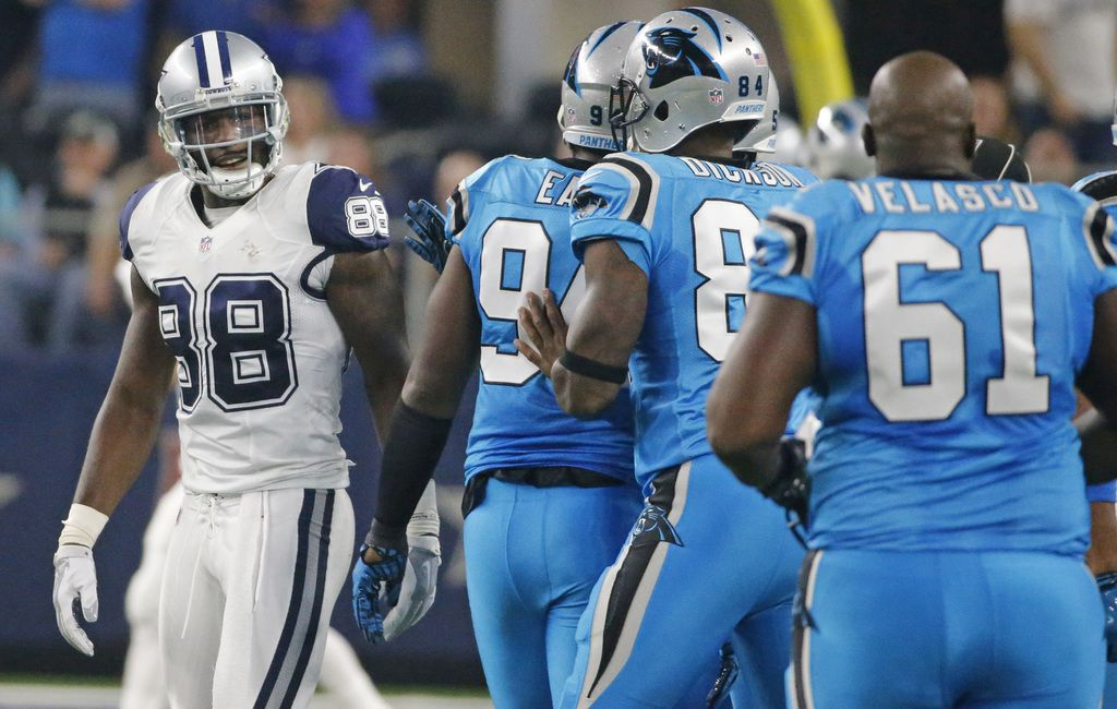 Dallas Cowboys wide receiver Dez Bryant (88) has some words for the Panthers bench in the first quarter during the Carolina Panthers vs. the Dallas Cowboys NFL football game at AT&T Stadium in Arlington, Texas on Thursday, November 26, 2015. (Louis DeLuca/The Dallas Morning News)