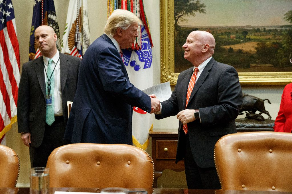 President Donald Trump met with House Ways and Means Committee Chairman Kevin Brady, R-The Woodlands, about health care on March 10 in the White House. (Evan Vucci/The Associated Press)