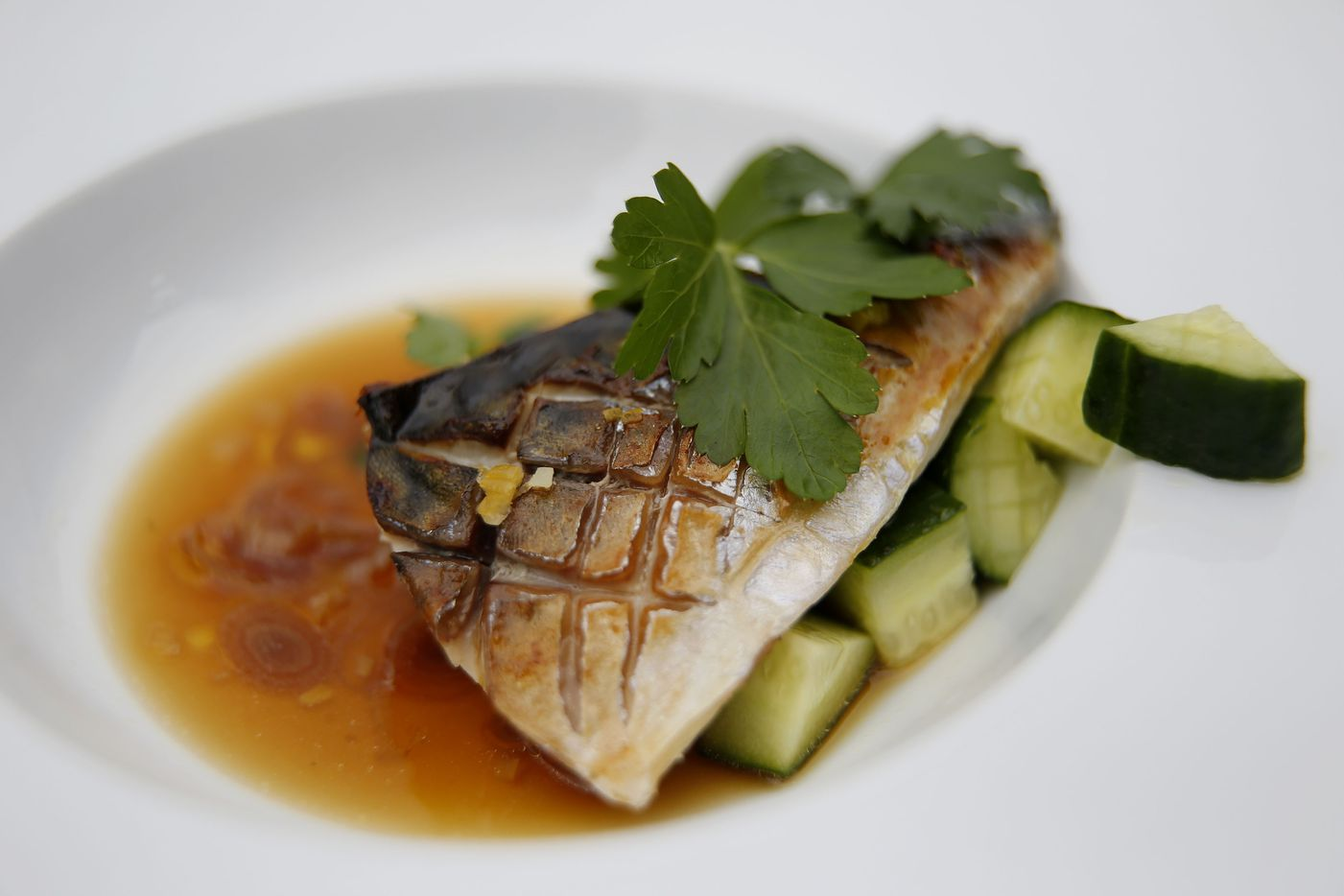 Saba shio -- grilled Norweigian mackerel with cucumber, parsley and preserved lemon