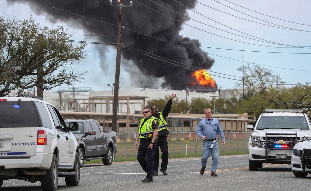 Smoke rises from a fire burning at the Intercontinental Terminals Company in Deer Park, east of Houston, on Sunday.