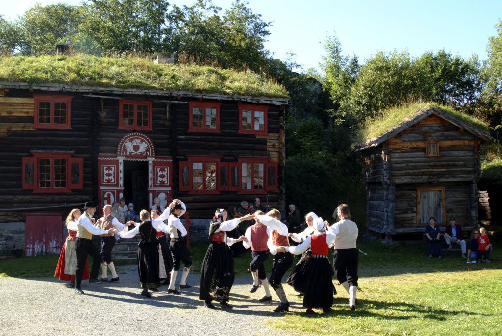 Cultural reenactments, historic buildings, and ancient sporting activities draw crowds at the Sverresburg Folk Museum in Trondheim.