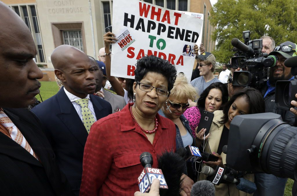 Geneva Reed-Veal, mother of Sandra Bland, talks with reporters after former Texas state trooper Brian Encinia's arraignment on a perjury charge in Hempstead. (The Associated Press)